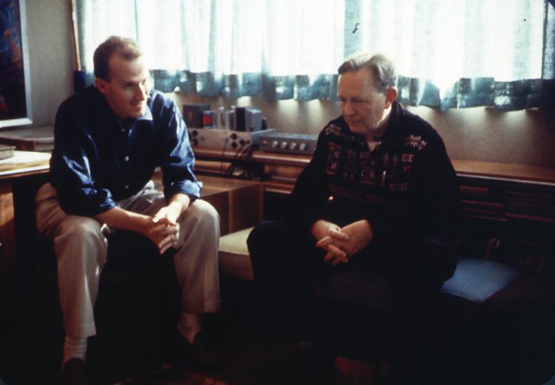 Herb Greene and Bruce Goff_1958_Price Tower studio_Photo Robert Alan Bowlby
