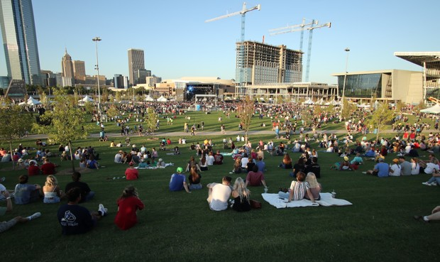 The lawn of Scissortail Park, looking toward the performance stage and downtown. Courtesy Doug Hoke